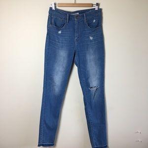 Levi's 721 High Rise Skinny Jeans Raw Hem Size 30